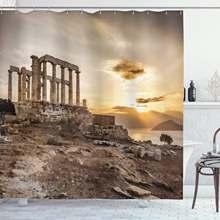 Занавеска для душа греческое здание poseidon at the sunset sea