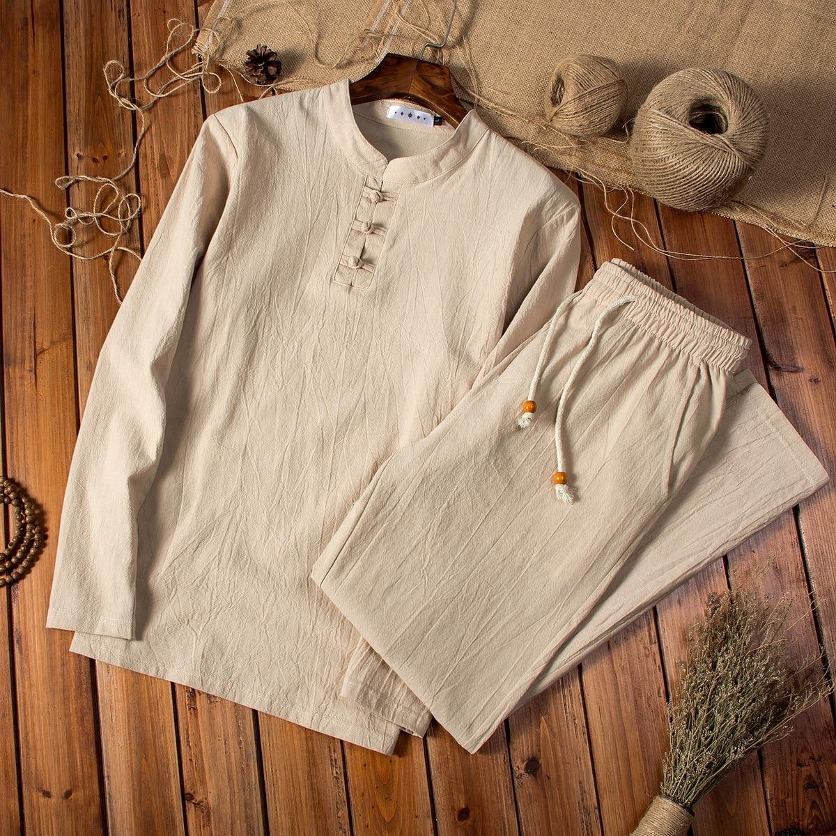 Chinese-style Cotton Linen Spring And Autumn Men Long Sleeve Trousers Set Large Size MEN'S Suit Men's Fashion Two Piece Set