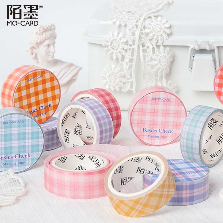 15 Mm Pita Kertas Vintage Grid Jurnal Washi Tape Pita Perekat Diy Scrapbooking Stiker Label Masking Tape