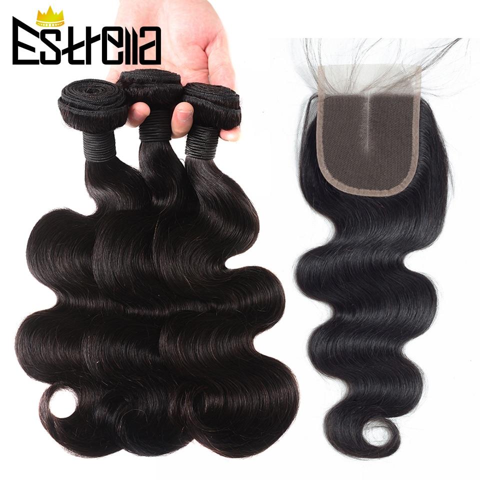 Mechones de ondas corporales con cierre cabello humano brasileño extensiones de pelo ondulado mechones y cierre Remy parte libre 4 × 4 Cierre de encaje con mechones
