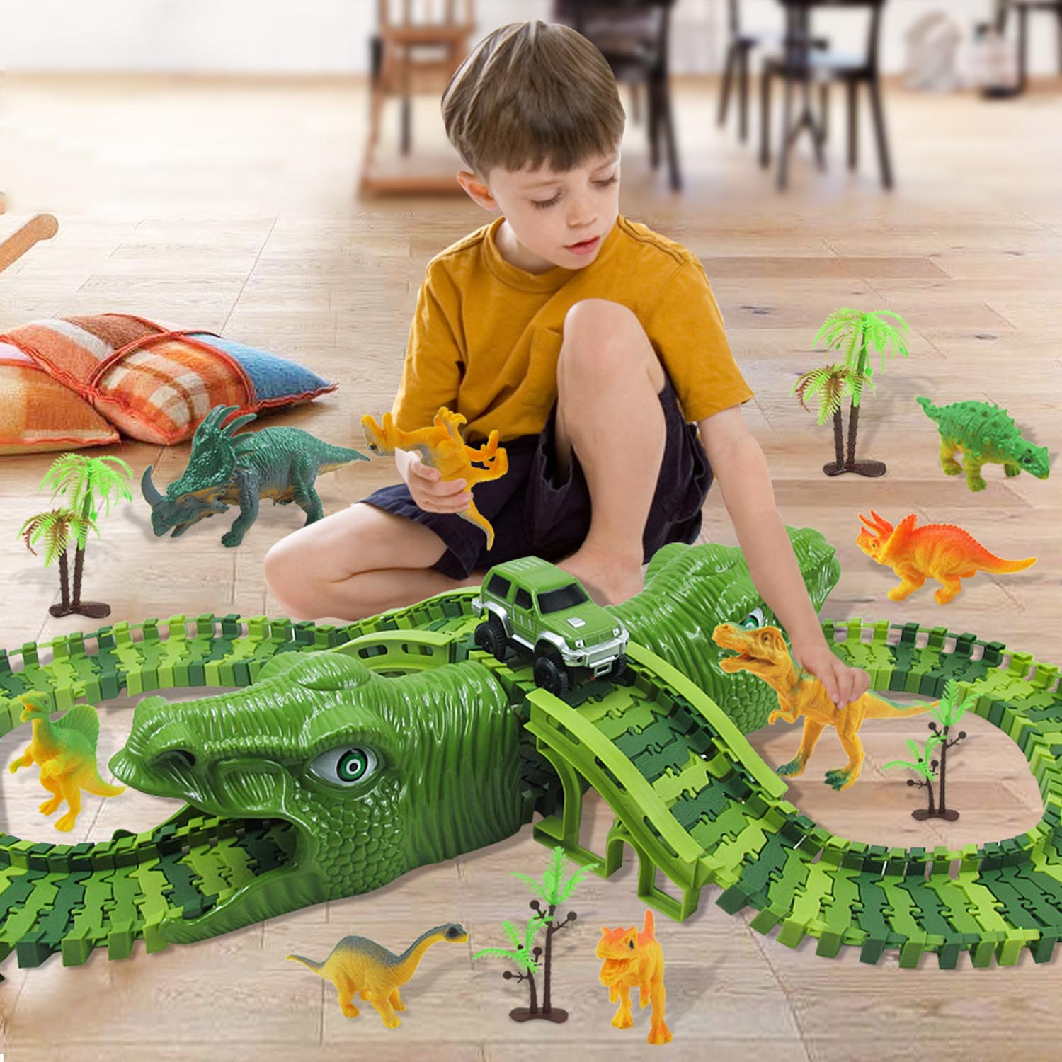 153PCS Kids DIY Assemble Jurassic Dinosaur Race Track Set Magical Flexible Racing Train Electric Race Car Dinosaur Model Toy