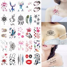Fake Tattoo Stickers Fashion Personality English Letters Cute Cartoon Flowers Waterproof Tattoo Stickers Temporary Tattoos Tatoo