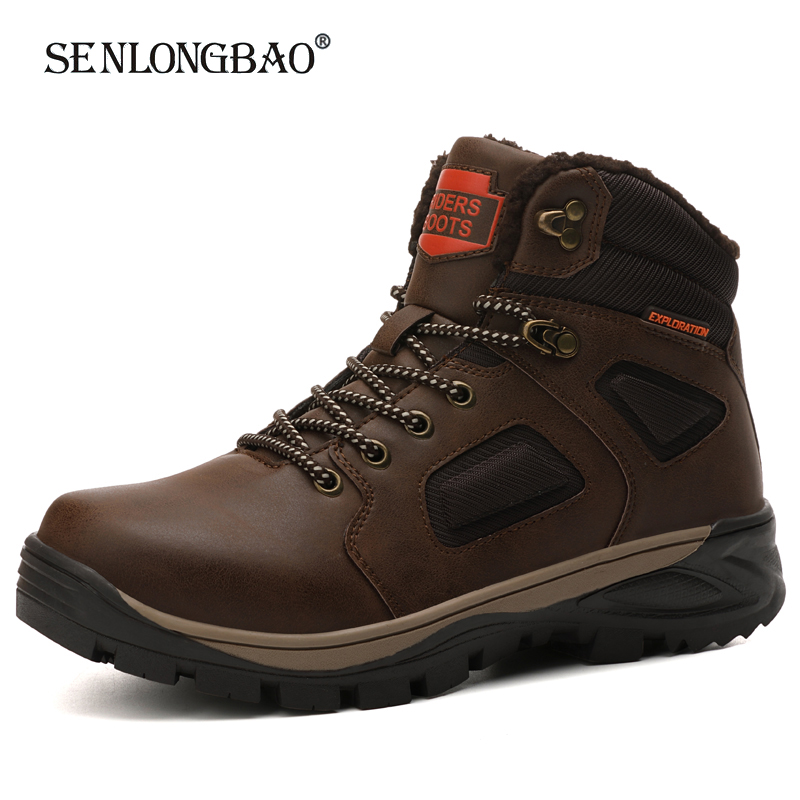 Winter Warm Plush Snow Boots Men Casual Shoes Men Non-slip Work Boots Outdoor Rubber Ankle Boots Waterproof Leather Men Boots