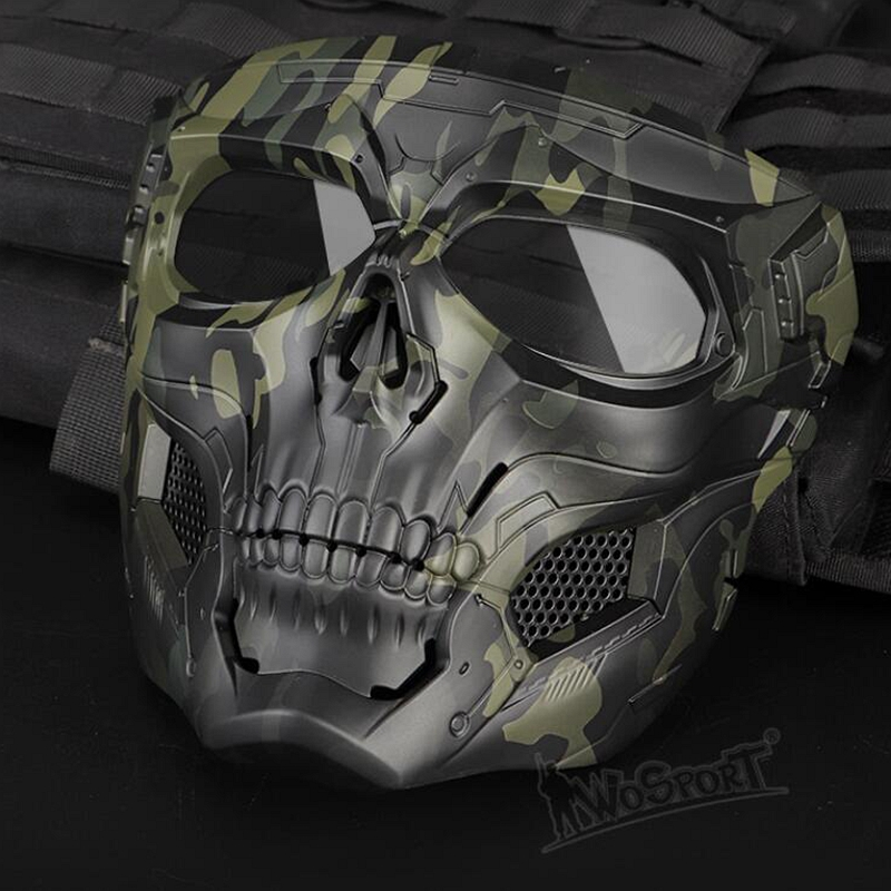 Tactical Paintball Skull Masks Military Full Face Safety Airsoft Paintball Masks Outdoor Breathable Hunting Shooting Skull Mask