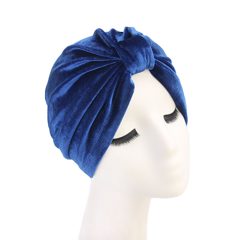 2019 Trendy Gold Velvet muslim Turban Bonnet For Women Solid Color Headband Hats Hijab Wrap Head Indian African Hat cap jilbab in Islamic Clothing from Novelty Special Use
