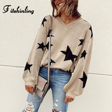 Fitshinling Stars Autumn Winter Women Sweaters And Pullovers Lantern Sleeve Khaki Pull Femme 2019 Knitted Jumper Sweater Ladies