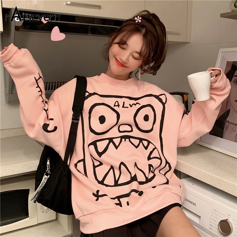 Raisevern Plus Velvet Pullover Funny Little Monster Prints Female Sweatshirts Autumn And Winter Harajuku Oversize Sweatshirts