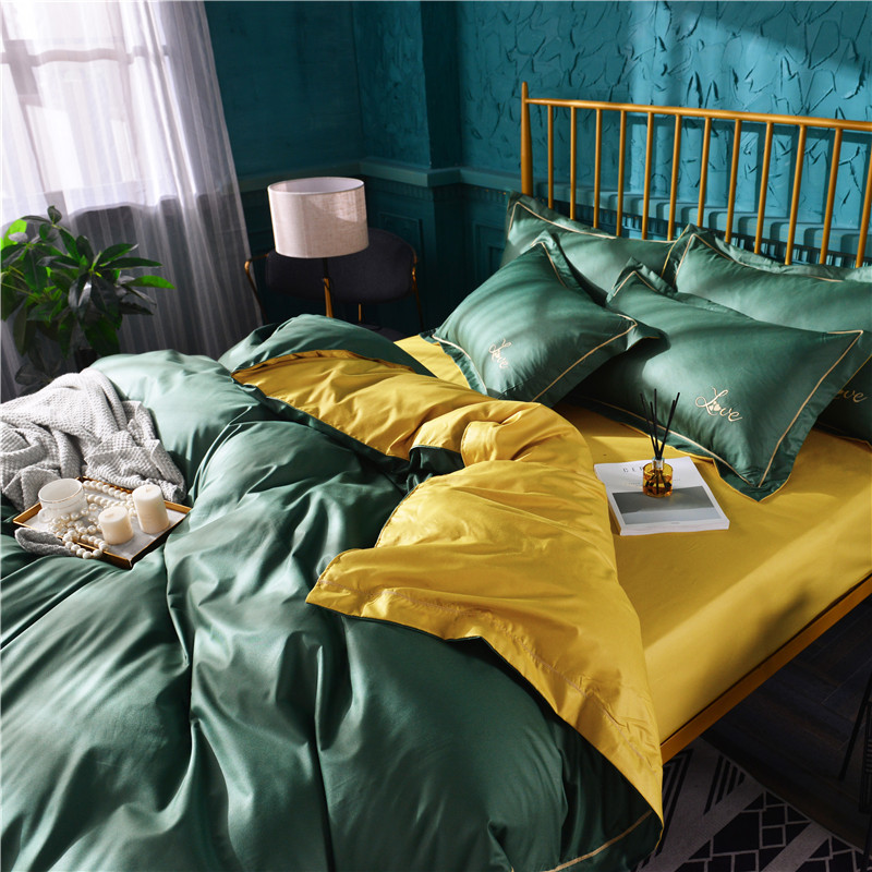 European Style Modern Minimalist Style Four-piece Set Solid Color Embroidery Embroidered Craft Quilt Cover Sheet Bedding Article