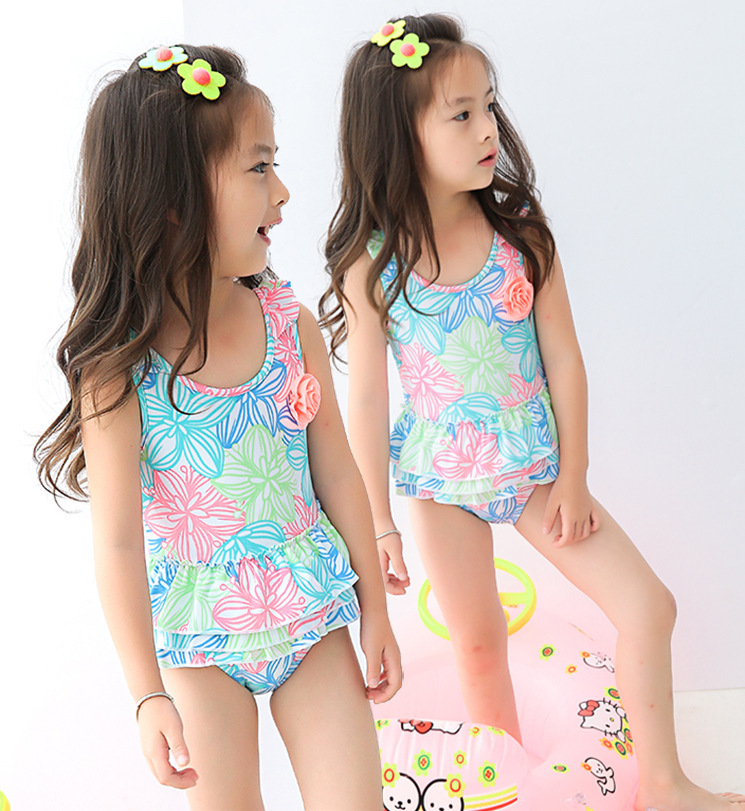 2019 KID'S Swimwear Small Children Baby Infants Color Line Drawing Flower One-piece Cute GIRL'S Hot Springs Swimwear