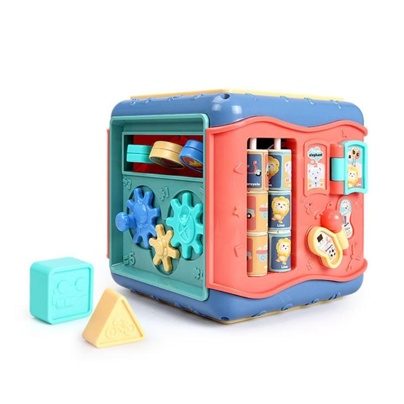 Baby Six-Sided Box Montessori Toy Clock Cognition Number Platter Round Beads Car Maze Graphic Matching Educational Puzzle