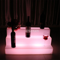 3 Layer Led Light Wine Cocktail Display Stand Rack Remote Control PE Plastic Colorful Color Charging For Night Club Bar KTV