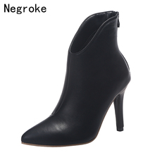 2019 New Women High Heel Booties Large Size Fashion Female High-Heeled Boots Sexy Ladies Booties 10cm Heel Dress Boots