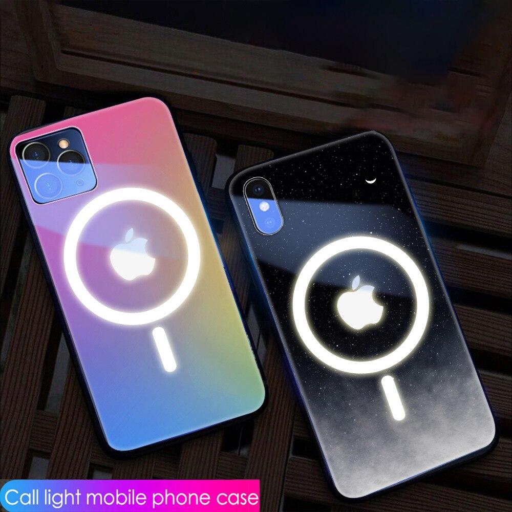 Adatto per iPhone 7 8 X XR 11 12 pro Max mini custodia per cellulare vetro a comando vocale luminoso aspirazione magnetica MagSafe shell