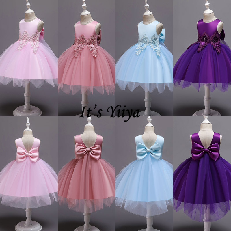 It's Yiiya Flower Girl Dress For Girls Appliques Lace Kids Flower Christmas Ball Gowns Tank Short First Communion Dresses 183