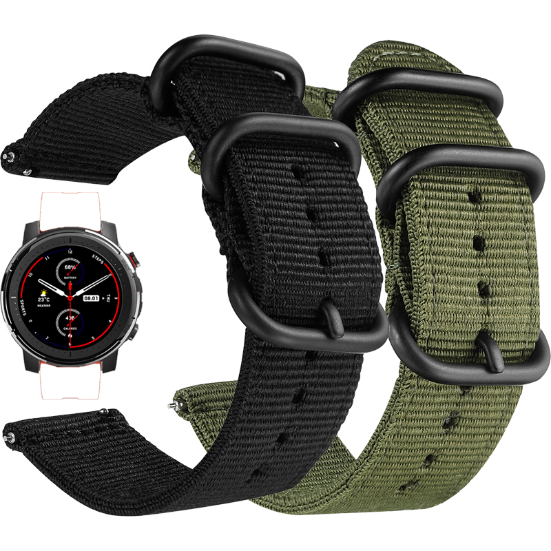 Nylon Canvas Strap For Xiaomi Huami Amazfit Stratos 3 2 2S /PACE/GTR 47MM Watch Band For Huawei Watch GT GT2 46mm Straps