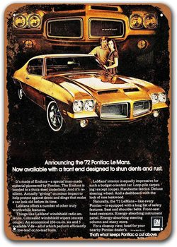 1972 Pontiac Lemans Car Metal Tin Sign, Sisoso Vintage Plaques Poster Garage Pub Retro Wall Decor image