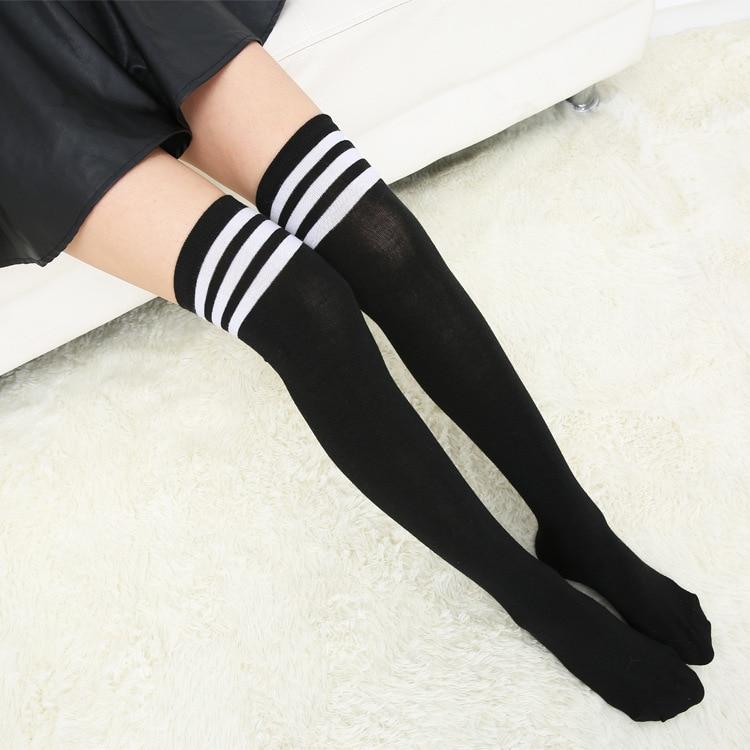 Sexy Medias Striped Long Socks Women Over Knee Thigh High Over The Knee Stockings For Ladies Girls 2019 Warm Knee Socks Women