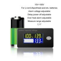 Monitor da bateria acidificada ao chumbo do li ion lifepo4 com temperatura indicador 12 v 24 v 36 v 48 v 60 v 72 v 10 100 v da capacidade da bateria de univerisal|Verificadores de bateria|   -