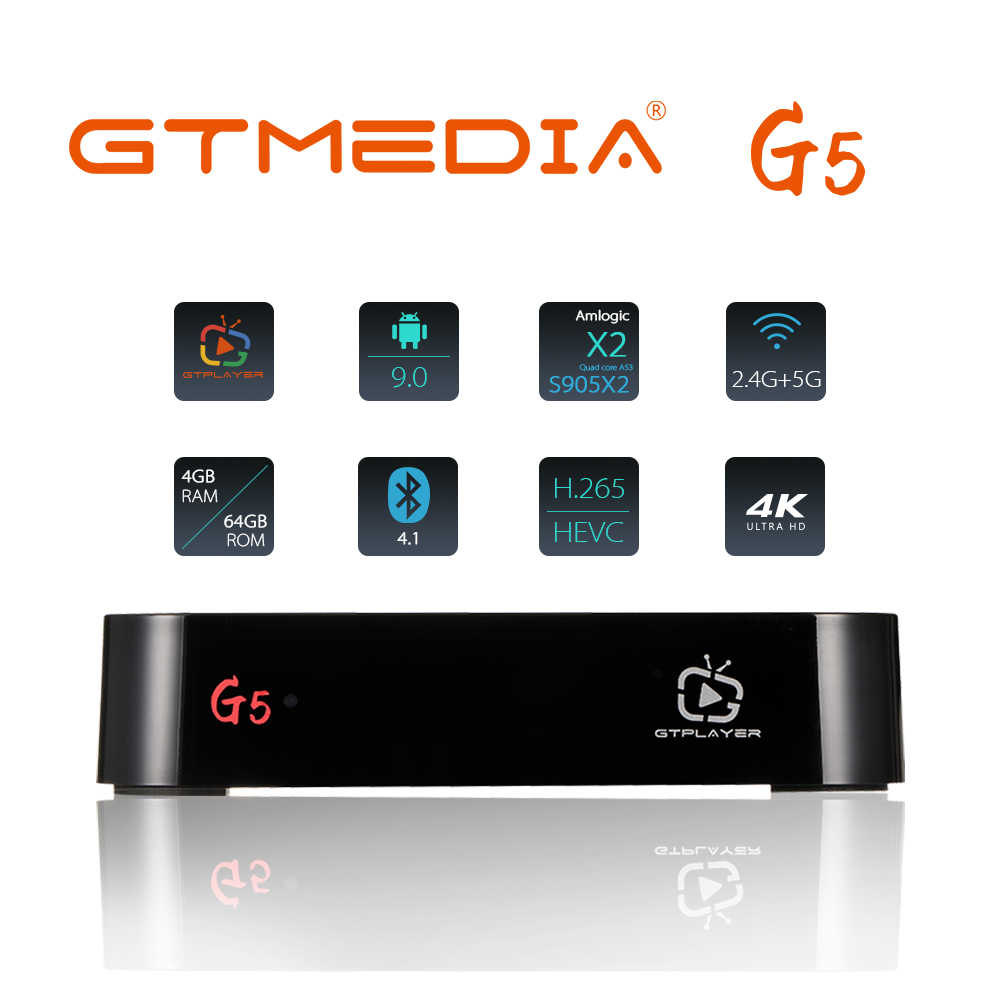 Gtmeid G5 Android Tv Box 9.0 4Gb 64Gb 4K H.265 Media Player 3D Video Google Assistent Netflix 2.4G 5Ghz Wifi Bluetooth Smart Tv