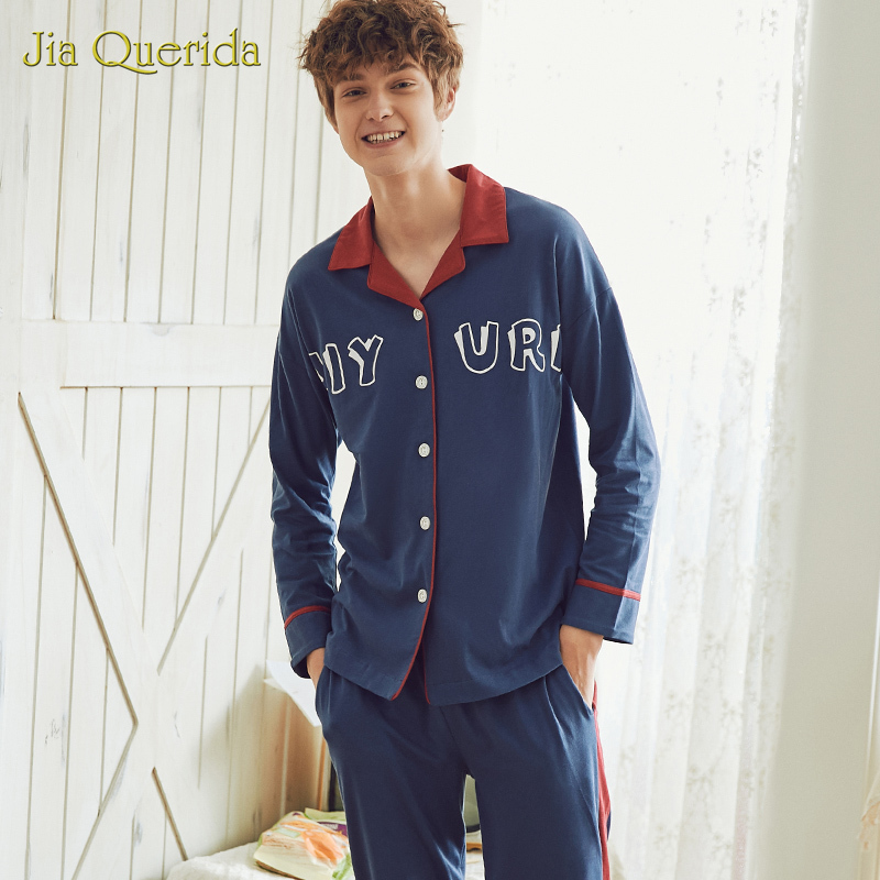 Spring Chinese Pajamas Pijama Men Homeclothes Homesuit Pajamas Set Pj Set Turn Down Collar Letter Cartoon Printing 100% Cotton