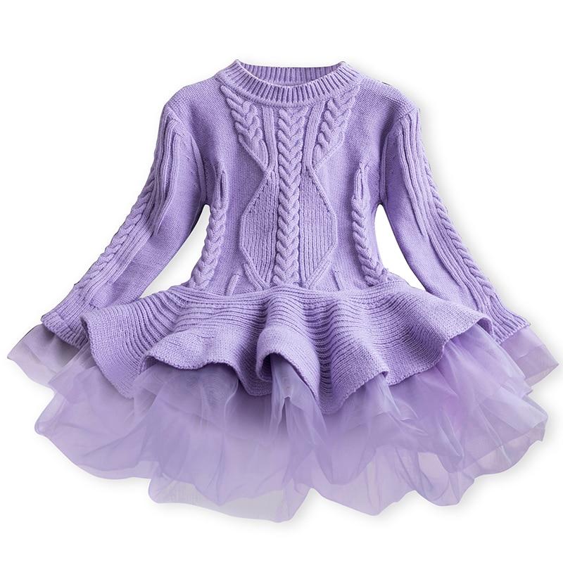 Girl Dress Knitted Baby Kids Dress Tutu Birthday Party Dresses Long Sleeve Children Girl Dress Thick Winter Kids Dress For Girls 3
