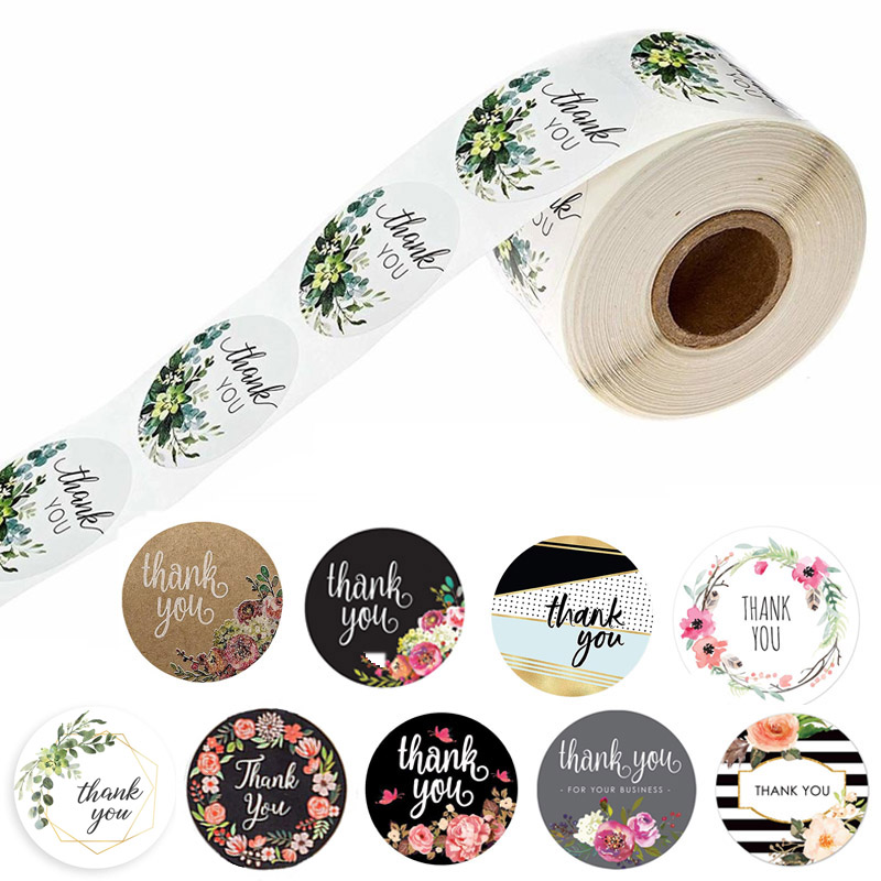 10 Style 50Pcs/wad  Floral Thank You Stickers 1 inch Round seal label handmade scrapbooking Envelope stationery sticker