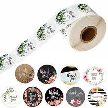 10 estilo 50 pces/wad obrigado floral você adesivos 1 polegada redondo selo etiqueta feito à mão scrapbooking envelope papelaria adesivo