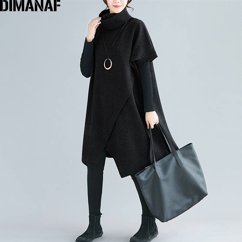 DIMANAF Oversize Winter Autumn Women Pullovers Sweatshirts Cotton Thicken Plus Size Turtleneck Lady Tops Female Loose