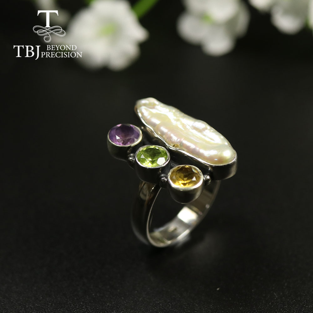 TBJ,Handmade women Ring jewelry with natural mop and mix gemstone jewelry 925 sterling silver unique design for women best gift