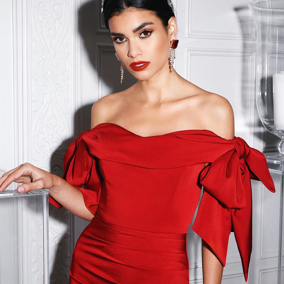 Adyce 2020 New  Summer Red Off Shoulder Celebrity Evening Runway Party Women Sexy Short Sleeve Black Bodycon Club Dress Vestidos