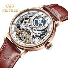KINYUED механические наручные часы с Tourbillon скелетом, мужские спортивные автоматические часы, часы с фазой Луны, montre homme mecanique