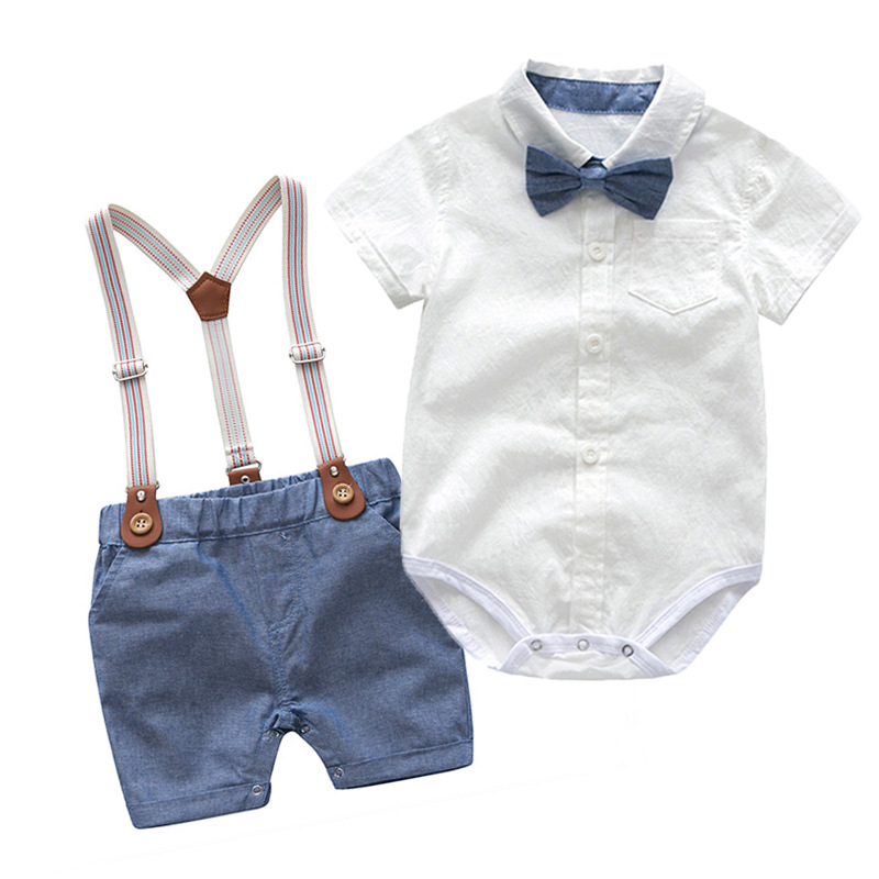 3M-5T Baby Boy Cotton Gentleman Long Sleeve Bowtie Romper Suspenders Shorts Outfit Set Baby Clothes Boy