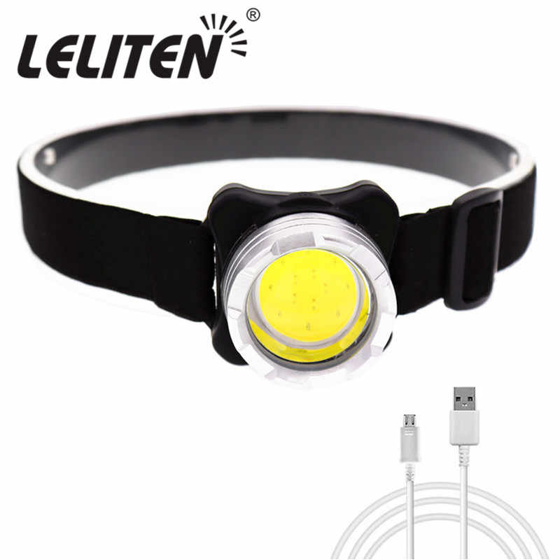 Lampe frontale à batterie interne, Mini lampe frontale Portable COB lampe frontale