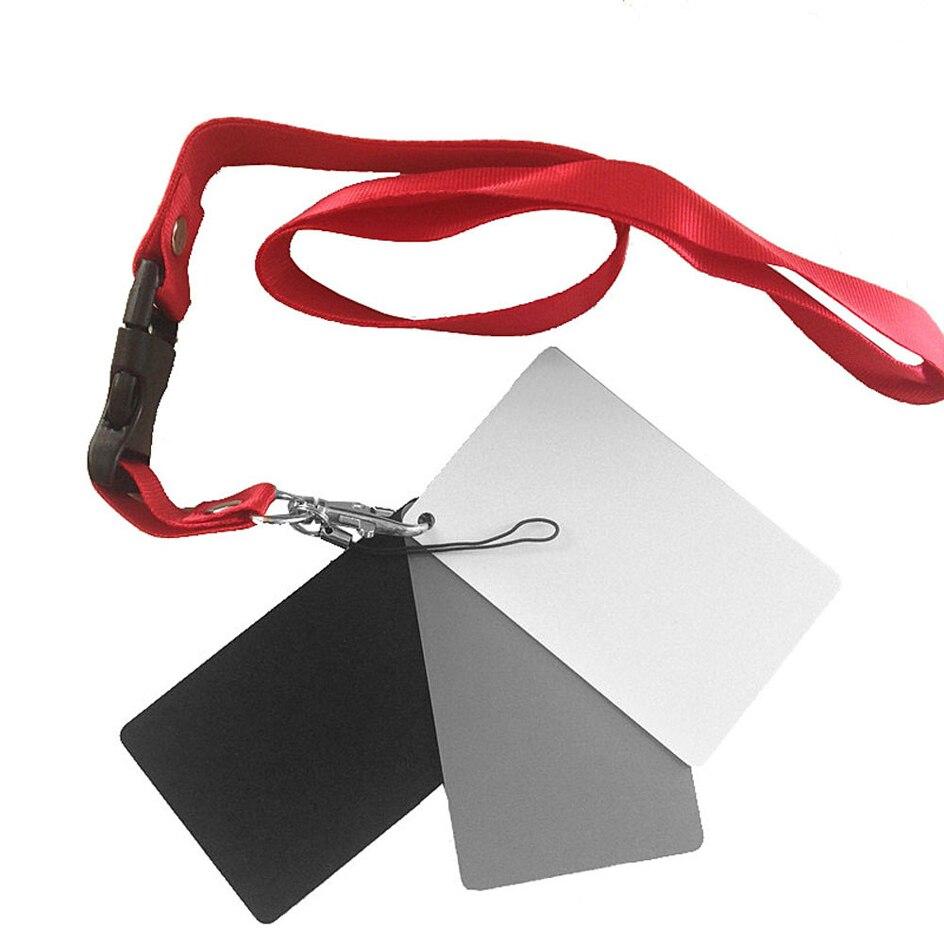 3 en 1 8.5X5.5 cm blanc noir 18% gris couleur Balance cartes numérique gris carte avec sangle de cou pour appareil photo reflex numérique Balance des blancs