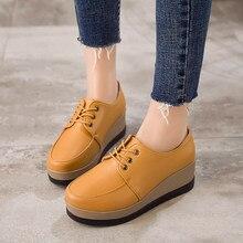 Mujeres zapatillas de plataforma cuero ligero zapatos 33 de moda para mujer 2018 zapatillas de cuña Pu señoras Footwaer tamaño 34 zapatos vulcanizados