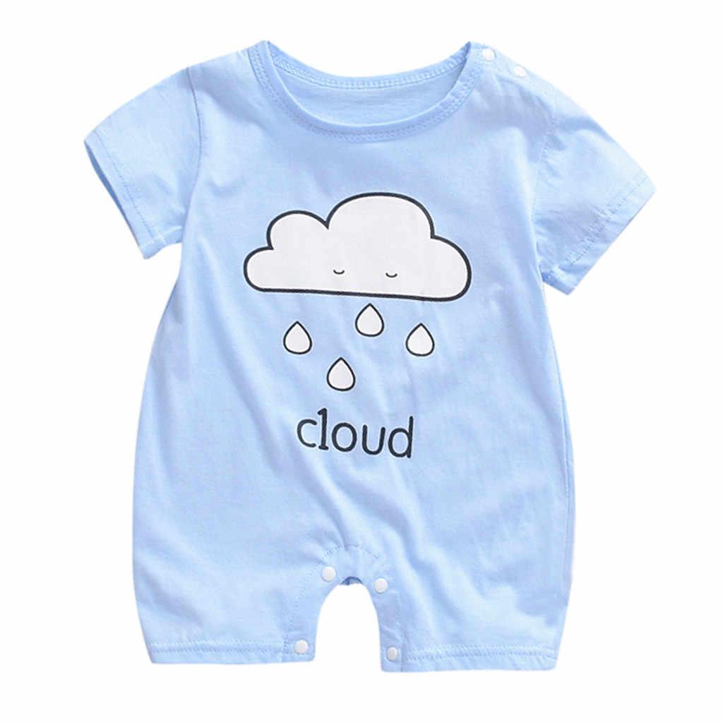 Ropa de bebé, Pelele de manga corta, traje para niño, mono de verano de tendencia, ropa de dormir para niña recién nacida, pelele infantil de estrella, Luna, monos de sol Cloud