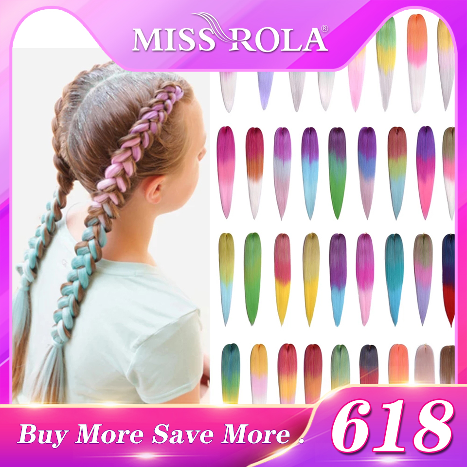 Miss Rola 24 Inches100g Yaki Straight Synthetic Hair Extension Pre Stretched Blonde Pink Jumbo Braids Wholesale Kanekalon Hair