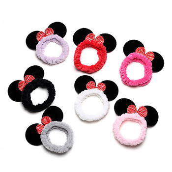 Classic cute mickey minnie head band bow wash face make up hair band mouse ear cartoon headdress women girl hair Accessories cute cartoon girl mickey hair rope minnie doll anime daisy donald headband for kid knotted hair loop women holder headdress gift