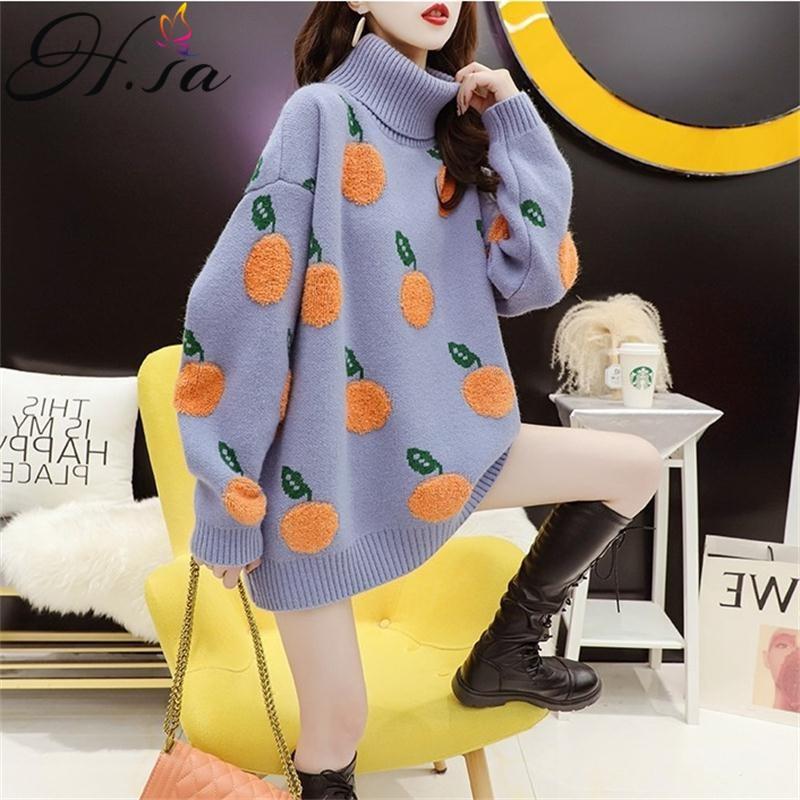 H.SA-suéteres de cuello alto para mujer, suéteres gruesos y cálidos de punto suave, suéter feo, jerséis de gran tamaño