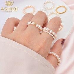 ASHIQI 3-4mm Mini küçük doğal tatlı su incisi yüzükler kadınlar için gerçek 925 ayar gümüş takı kadınlar için 2019 moda hediye