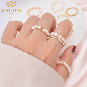Image 1 - ASHIQI Small Natural Freshwater Pearl Couple Rings for Women Real 925 Sterling Silver Jewelry for Women wholesale Fashion Gift