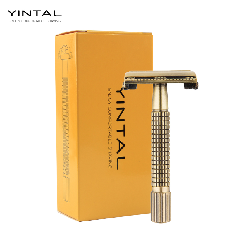 YINTAL Replaceable Shaver Brass Men Safety Razor Classic Butterfly Mechanism Double Edges Razors Plating Grid Handle Shaver