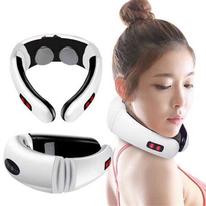 Electric Pulse Back and Neck Massager Far Infrared Heating Pain Relief Tool Health Care Relaxation Intelligent Cervical Massager(China)
