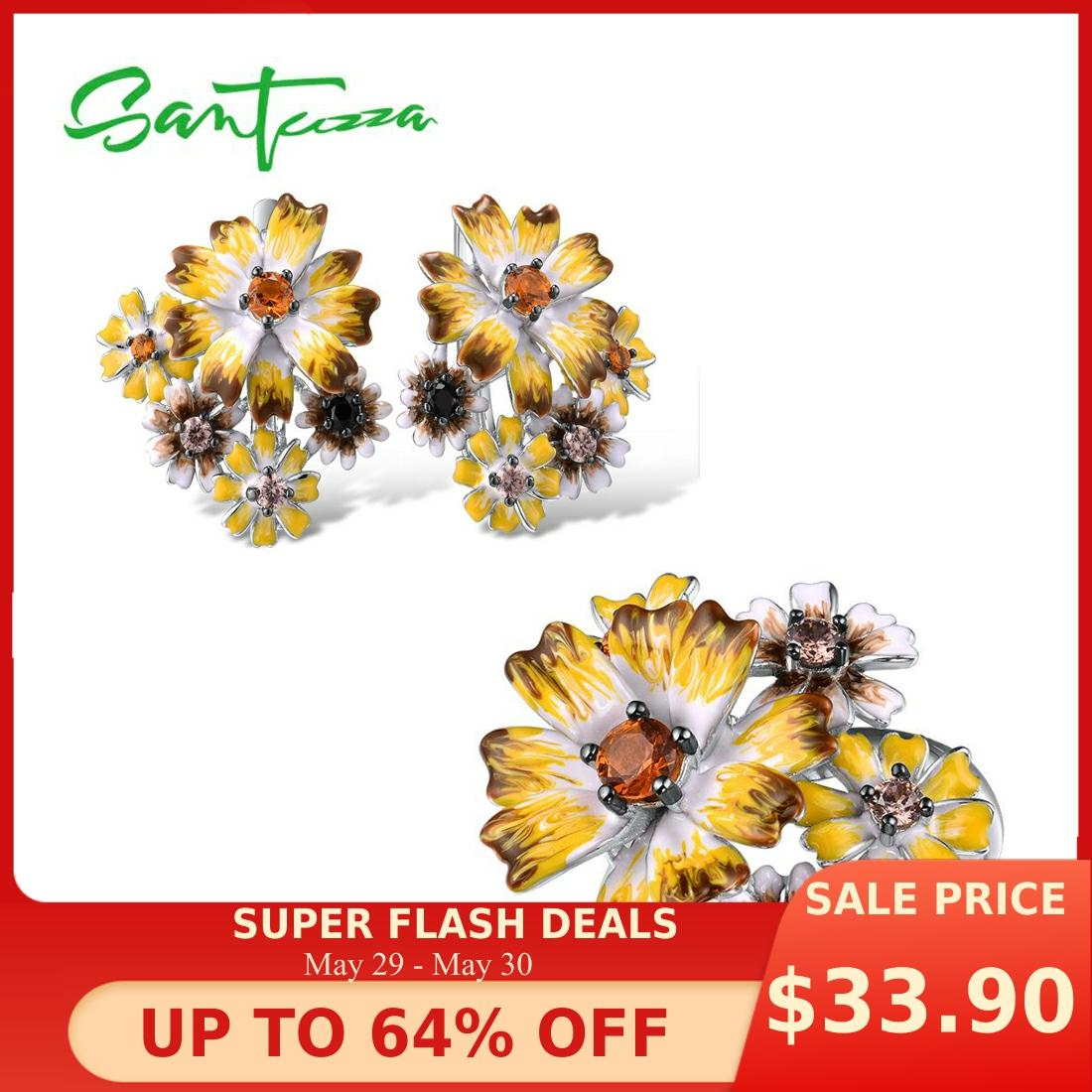 SANTUZZA Silver Jewelry Set For Women 925 Sterling Silver Elegant Yellow Flowers Earrings Ring Set Fine Jewelry Handmade Enamel