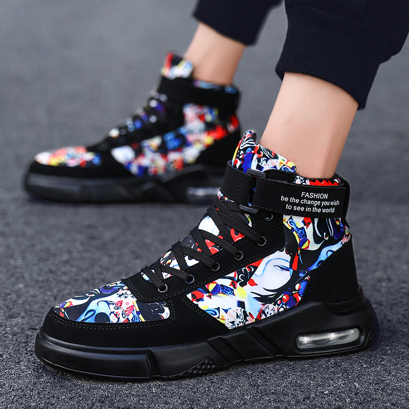 UNN Men's Shoes 2019 Winter Hip Top Sport Shoes Black Men Boots Comfortable SuperStar Shoes Mens Casual Sneakers White image