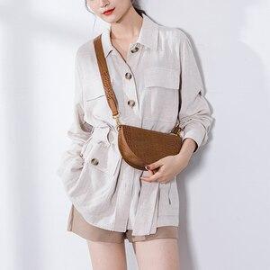 Image 1 - MABULA Mode Krokodil Halbkreis Crossbody Tasche Sattel Taschen Schulter Tasche PU Leder Luxus Handtasche Für Frauen Umhängetasche