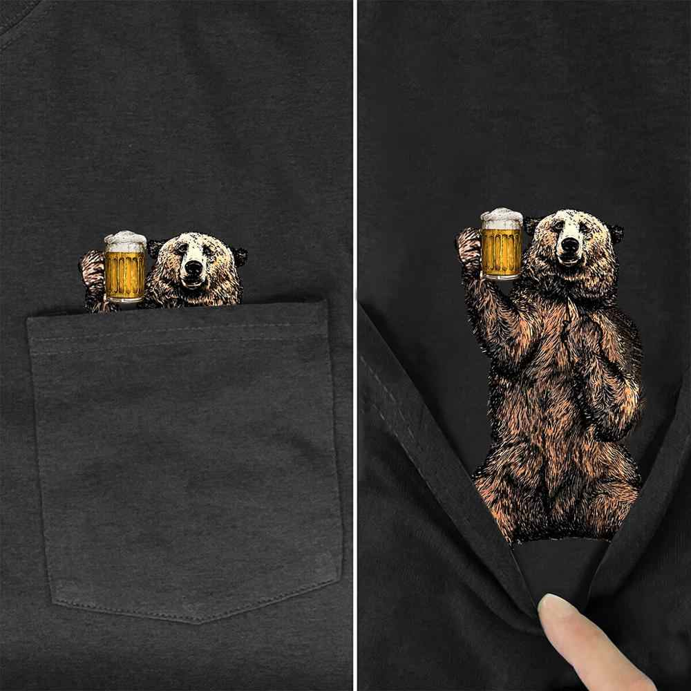 Drink Bear In Pocket T Shirt Dog Lovers Black Cotton Men Made in USA Cartoon t shirt men Unisex New Fashion tshirt style-5