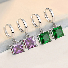 925 Sterling Silver Classic Crystal Purple Green Square CZ Stone Earrings Hanging Cubic Zirconia Cube Brinco