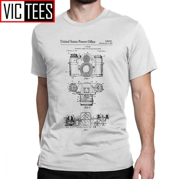 Men Camera Patent Photographer Old Camera T-Shirt Funny Crew Neck Short Sleeve Clothes Pure Cotton Tees Adult Men T Shirts graphic tees crew neck men new dead kennedys cambodian skeleton holiday in cambodia short sleeve gift shirts
