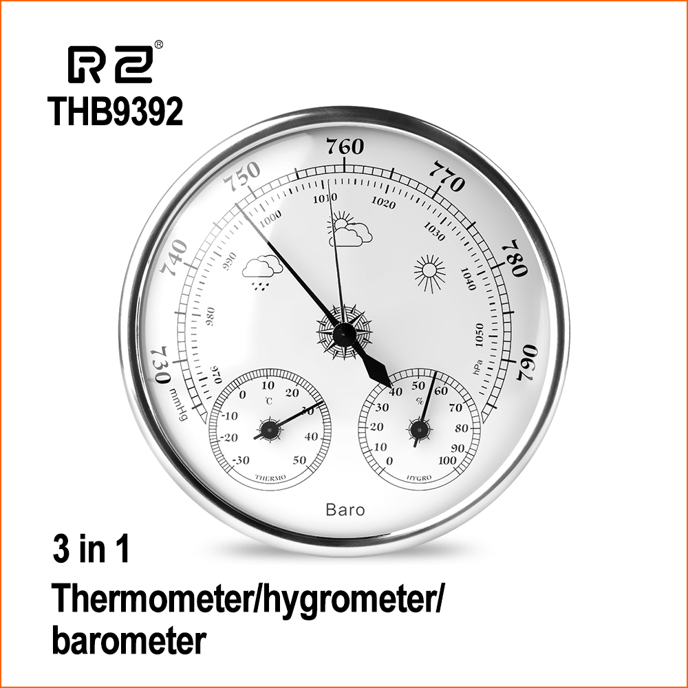 RZ Wall Mounted Thermometer Hygrometer Digital Household High Accuracy Pressure Gauge Air Weather Instrument Barometer